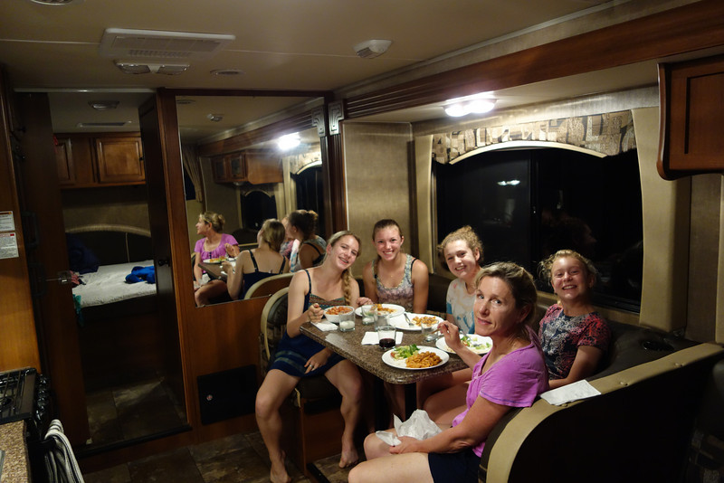 Back to the motorhome for dinner.  It's incredibly roomy - we're quite happy with it.