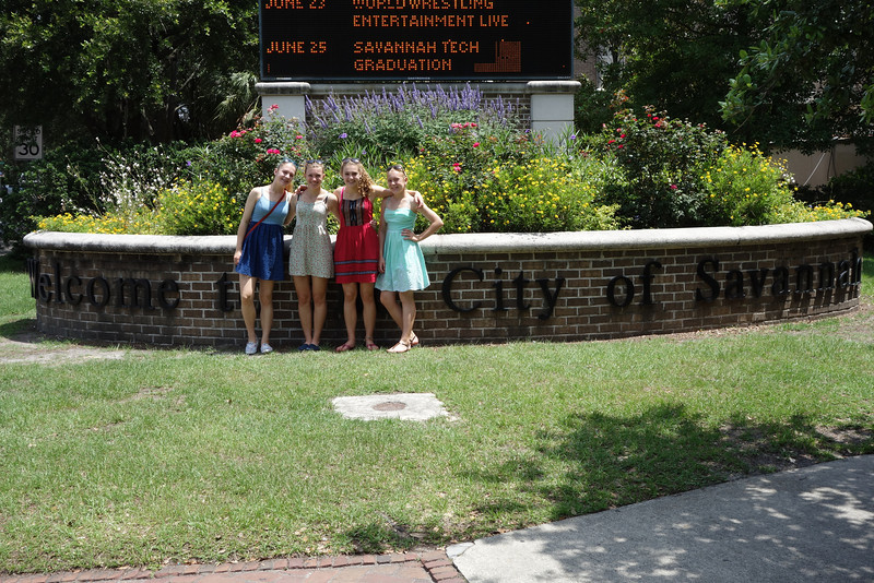 Our southern belles in front of the City of Savannah sign.