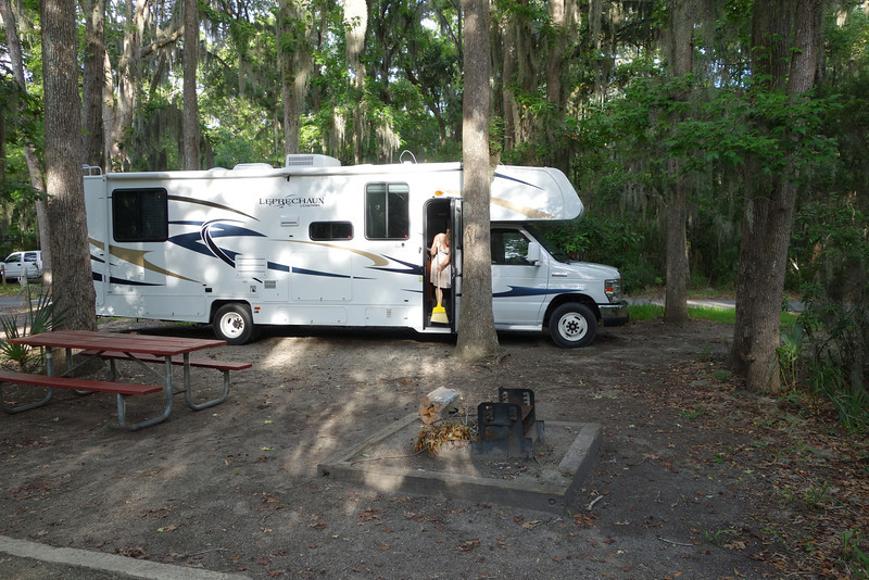 Our campsite.  Patty is happy because we found the broom.