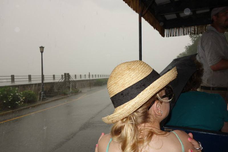 It really started to pour (no, there are no sides to the carriage).  The Atlantic ocean is just on the other side of that wall, but you can't see it through the rain.  Jessie and I got very wet.