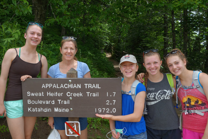 "On our ""rest day"" we decided to take an 8 mile hike along the Appalachian Trail that a ranger recommended.  Here we are at the start.  We didn't make it to Maine.  :)"