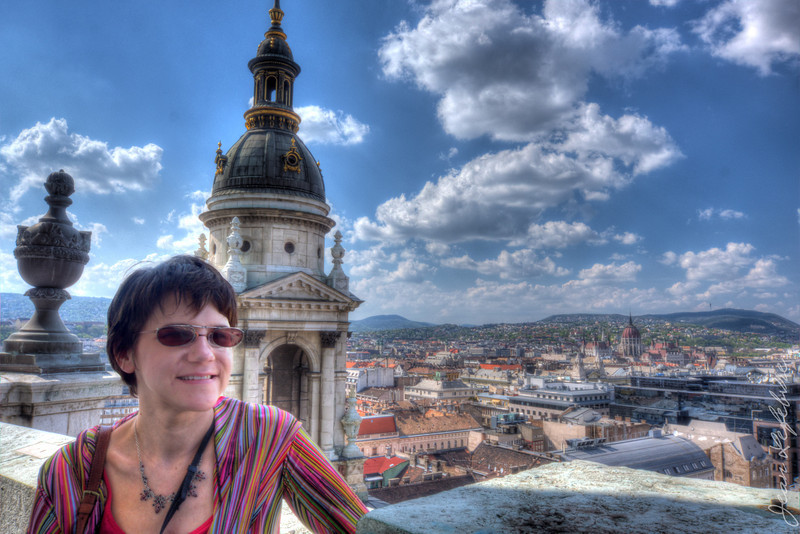 Cathy Posing on the dome of St Stephen's Cathedral in Budapest.