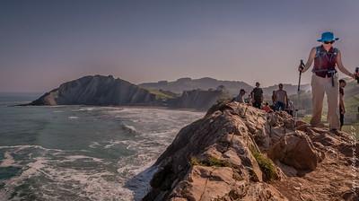 Cathy on the cliffs near Zumaia, Spain