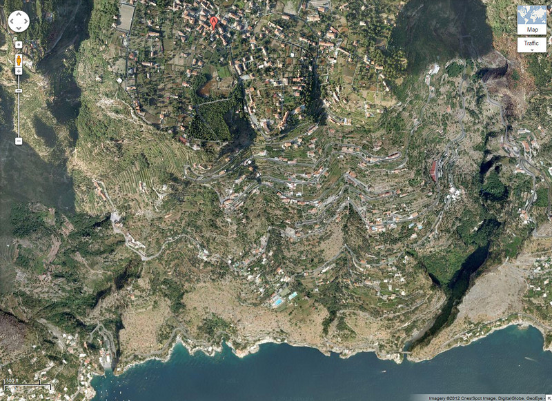 "The red ""A"" is where our hotel was( in Agerola, Italy). You can see the many many Switch backs on the way down to Amalfi - 1/2 Km straight down or 2700 stairs if you walk it ... we did :o"