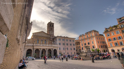 A Piazza in the Trastevere Neighbourhood of Rome, it's a fun place to visit but I wouldn't want to drive here!