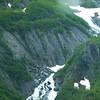Waterfalls tumbling down mountain in whittier