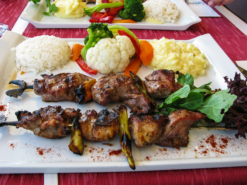 Lunch, delicious lamb kebobs @ Bodrum Cafe