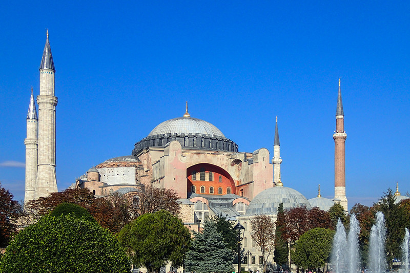 Hagia Sophia - The current building was originally constructed as a church between 532 and 537 with the orders of the Byzantine Emperor Justinian. <br /> In 1453, Constantinople was conquered by the Ottoman Turks under Sultan Mehmed II who ordered the building converted into a mosque.