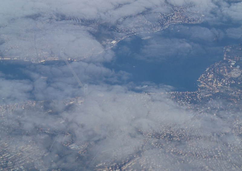 On our way to Kas, to sun and warmth - we had to change planes in Istanbul, this is the bridge over Bosphorus