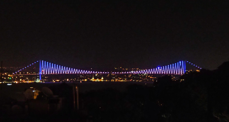Bridge over the Bosphorus, view from the 8th floor terrace at Pasazade