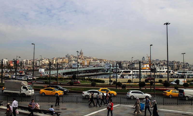 Istanbul busy scene in front to Yeni Camii