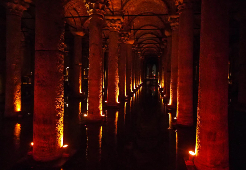 The Basilica Cistern is the largest of several hundred ancient cisterns that lie beneath the city of Istanbul. The cistern was built in 532 AD during the reign of Byzantine Emperor Justinian I
