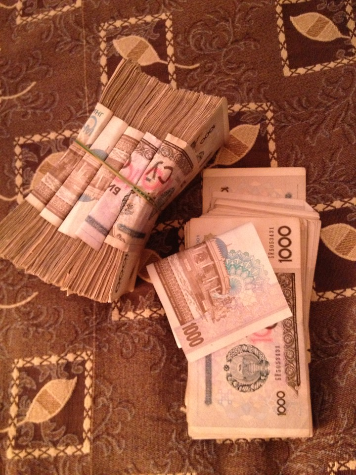 Uzbekan sum worth 200 euro's.