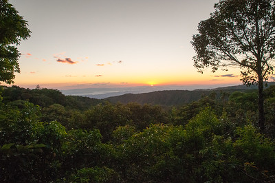 Sunset over the Gulfo de Nicoya, as we head out for a night hike in the Bajo del Tigre forest.