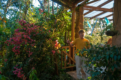 Andy in the garden between the Hooke casa and casita.