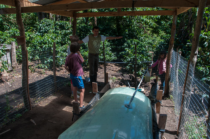 Guillermo explains the biogas system that recovers methane, used for cooking, from the animal manure.