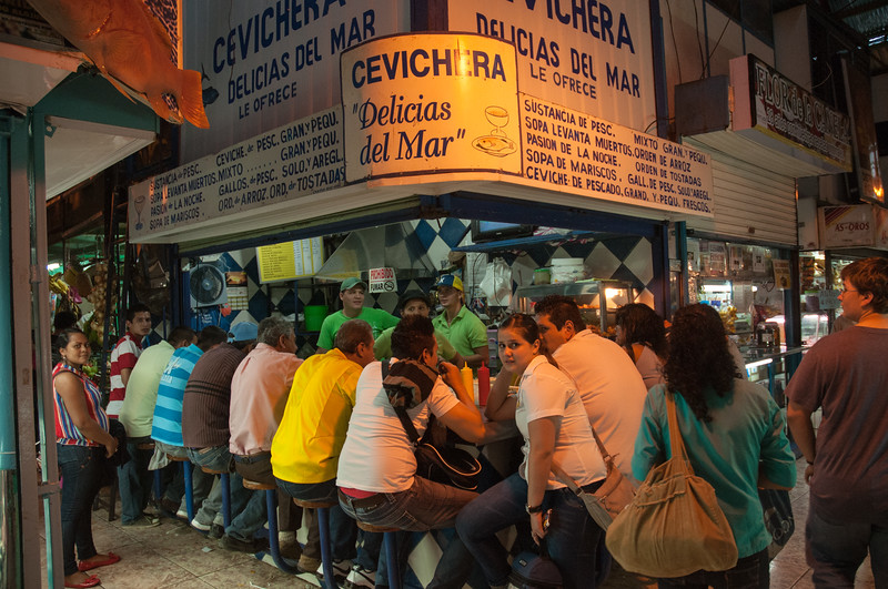 An extremely popular cevichera inside the central market.