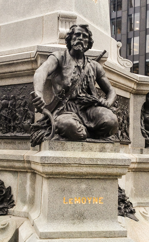 Statue in Place d'Armes, Montreal.