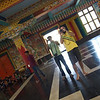 Colleagues (Tanjot and Vin) taking snaps inside a Tibetan temple.