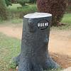 Fitting trashcan design in the botanical garden.
