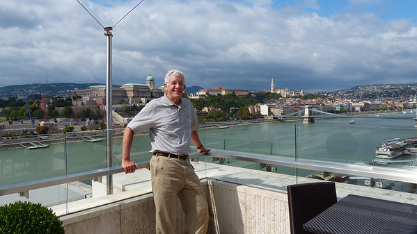 Chris on the Terrace of the Marriott in Budapest