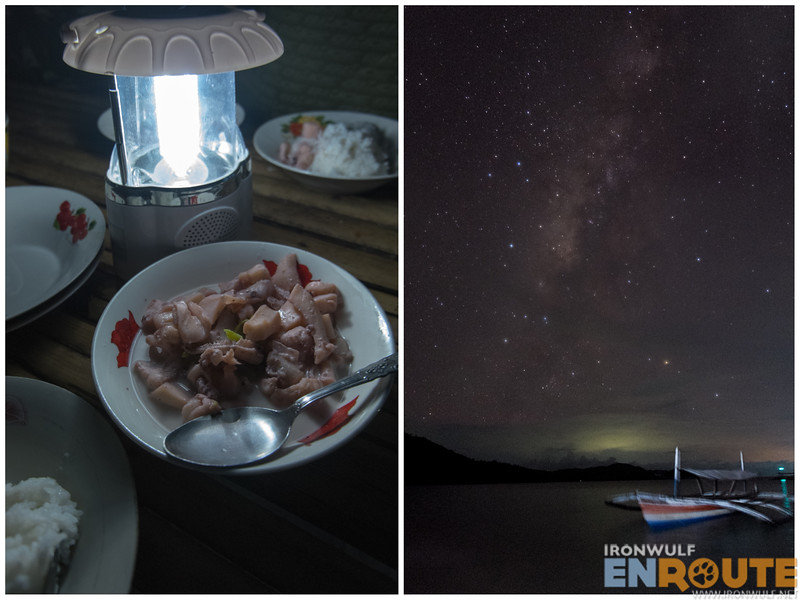 Our dinner of Squid Inadobo sa gata and Night Sky