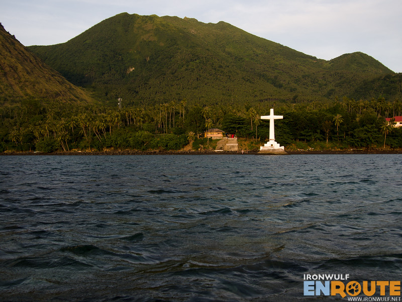 The site of the sunken cemetery with Mt Hibok hibok at the backdrop