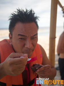 Eating Sea Urchin at White Island