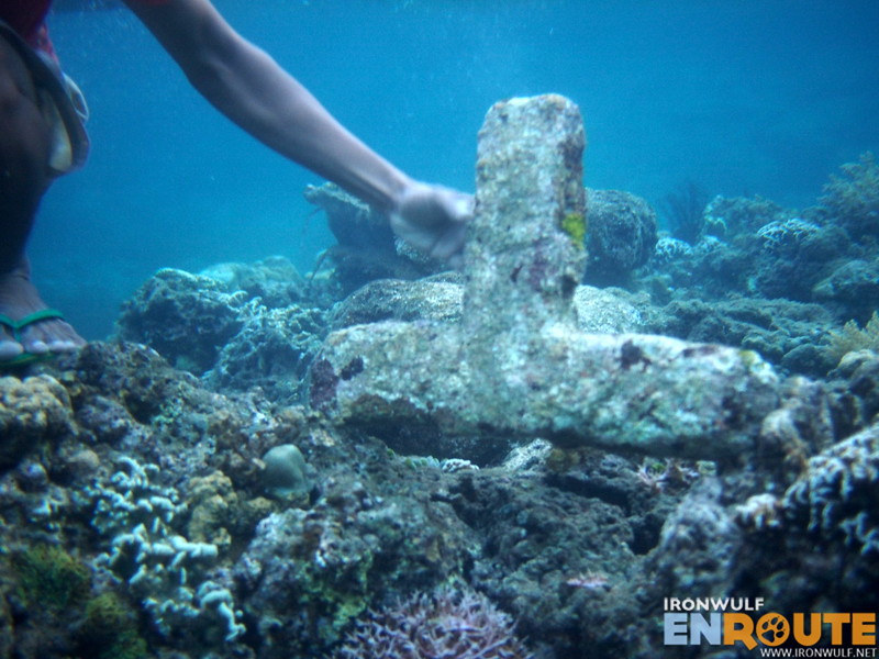 Our guide showing us one of the cross originally left from the sunken cemetery