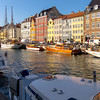 The Nyhavn area of restaurants and boats.