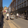 Typical street view in downtown Copenhagen, where bicycles and pedestrians dominate.