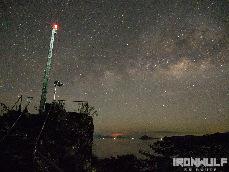 The Culion lighthouse at the back of the church and milky way in view