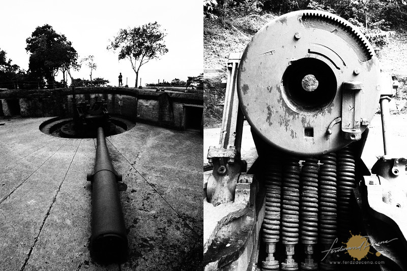 The cannons at Battery Grubbs (left) and Battery Way (right)