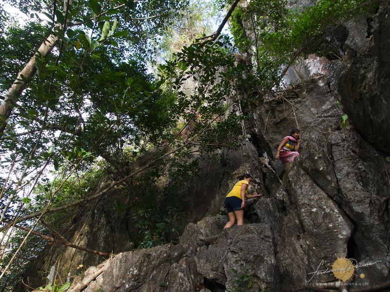 Climbing up the sharp rocks