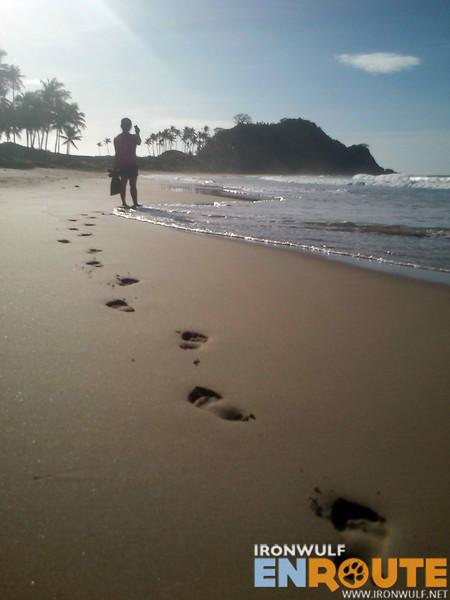 Marking footprints on the undisturbed shore