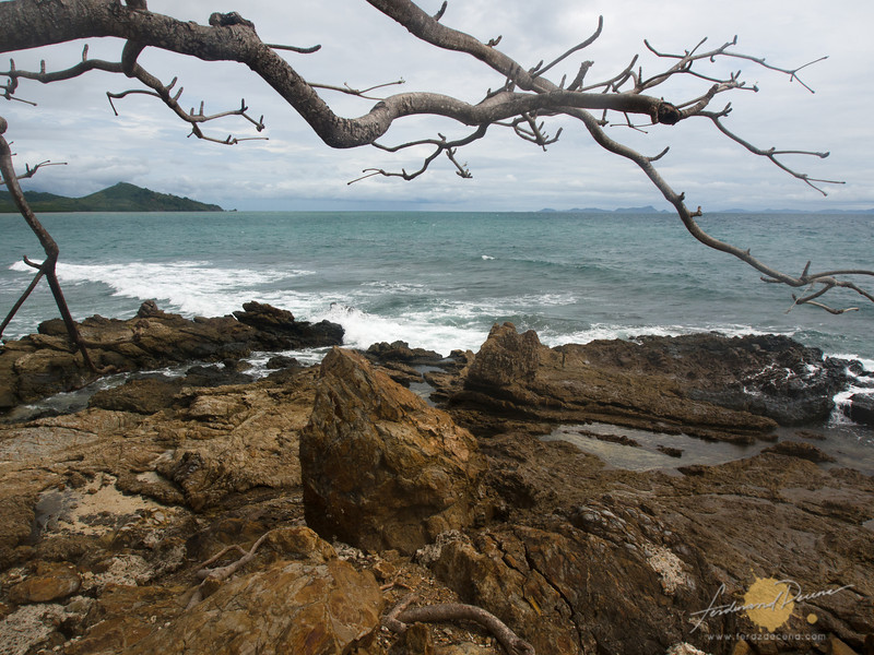 The rocky side of the island