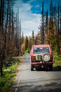Driving through the burn area