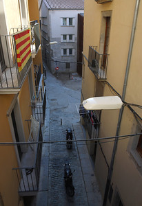 From the trip to Girona (Gerona), Catalunya, Spain. Evening stroll through the town of Girona in Spain.
