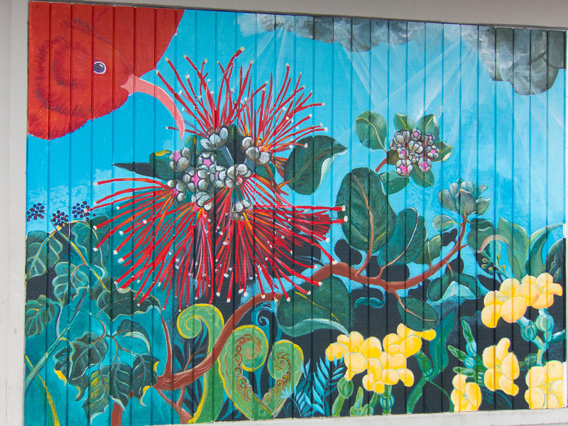 Wall painting at Mauna Loa Macademia Nuts factory