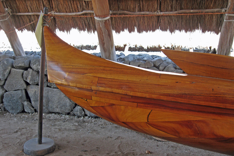 A wooden outrigger at the Place of Refuge, Honaunau, HI