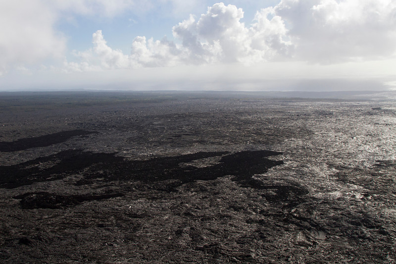 From helicopter: lava field near Hawaii Vocanoes National Park