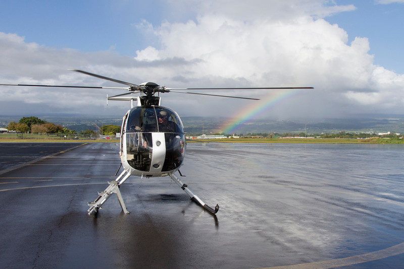 Our helicopter and pilot, Hilo International Airport.
