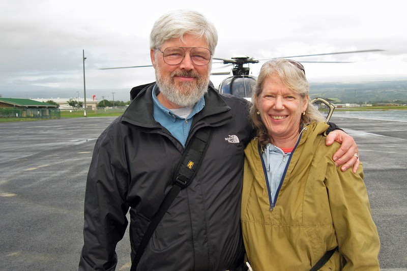Jim & Laurel moments befpre their 1st helicopter ride  out of Hilo Airport, HI