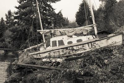 Abandoned boat near Hood Canal