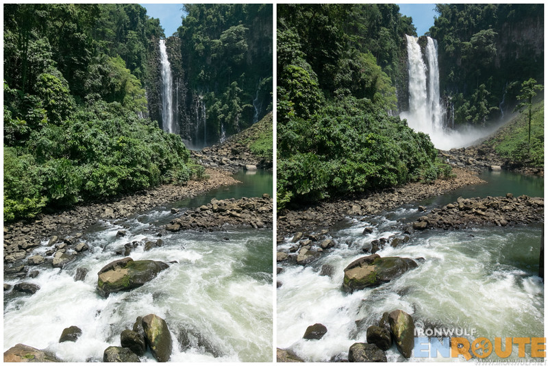 The Maria Cristina Falls when we arrived (left) and with the dam open (right)