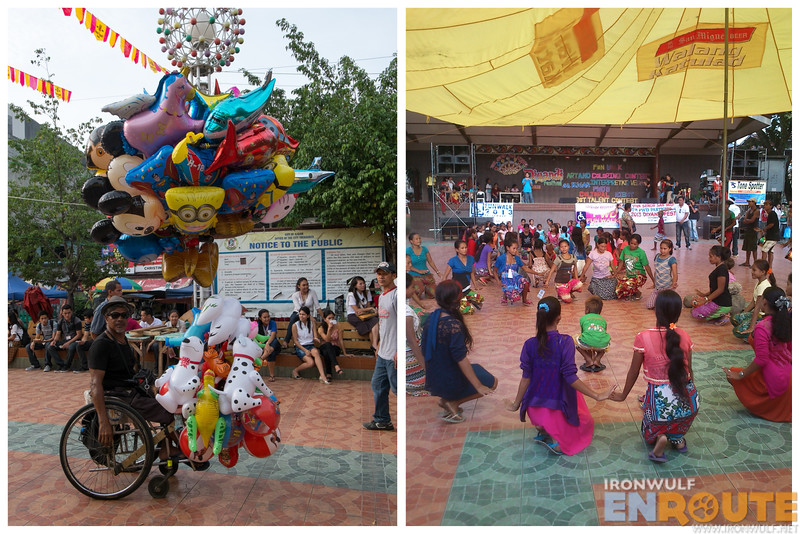 Scenes from the plaza: Vendor on a wheelchair and the Badjao group rehearsal