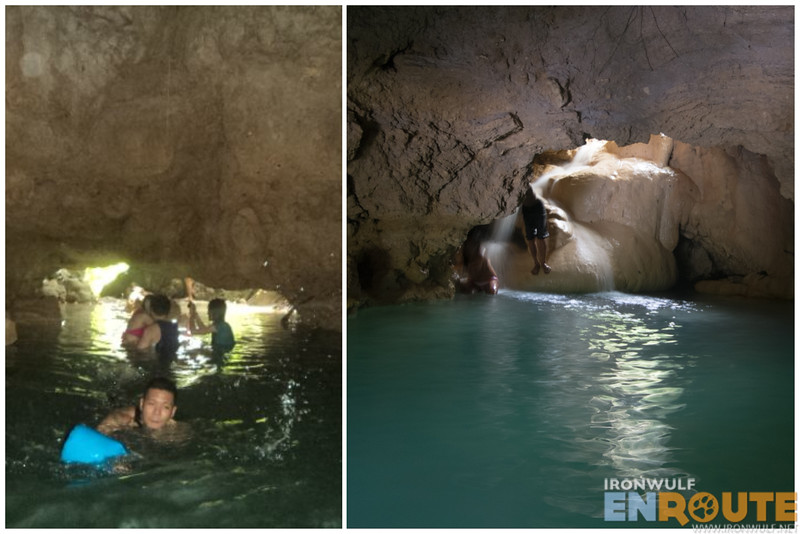 Ironwulf swims (left) the exit on the other side of the cave (right)
