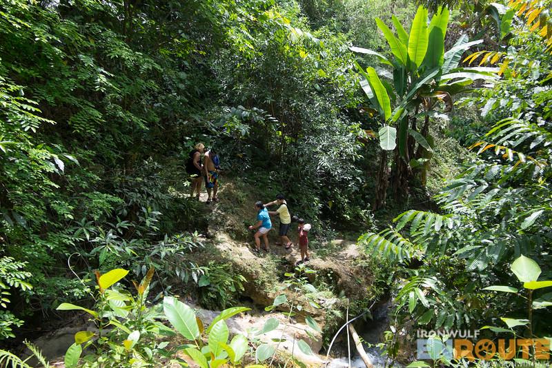 Flourishing vegetation and stream on the way to Kalubihon Falls