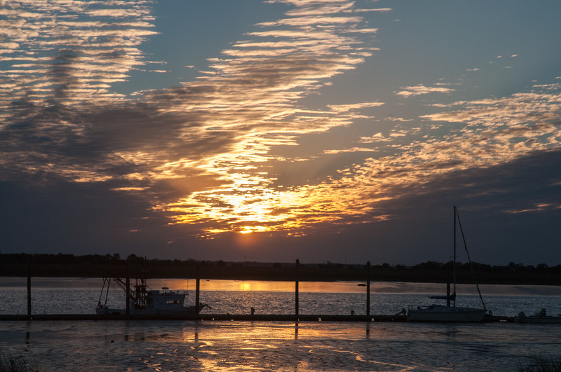 Sunset over the Jekyll Island marina and river.