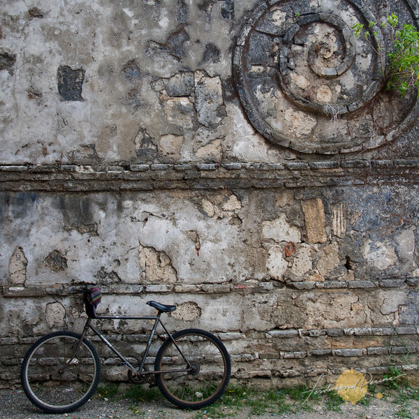 Bike and spiral at the Paoay Church